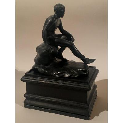 Mercure au repos, bronze , XIXe  siècle, travail probablement italien.