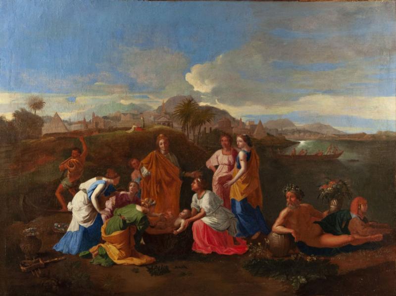 Moïse sauvé des eaux, Suiveur de Nicolas Poussin (1594-1665),huile sur toile du XVIIIème siècle.-photo-2