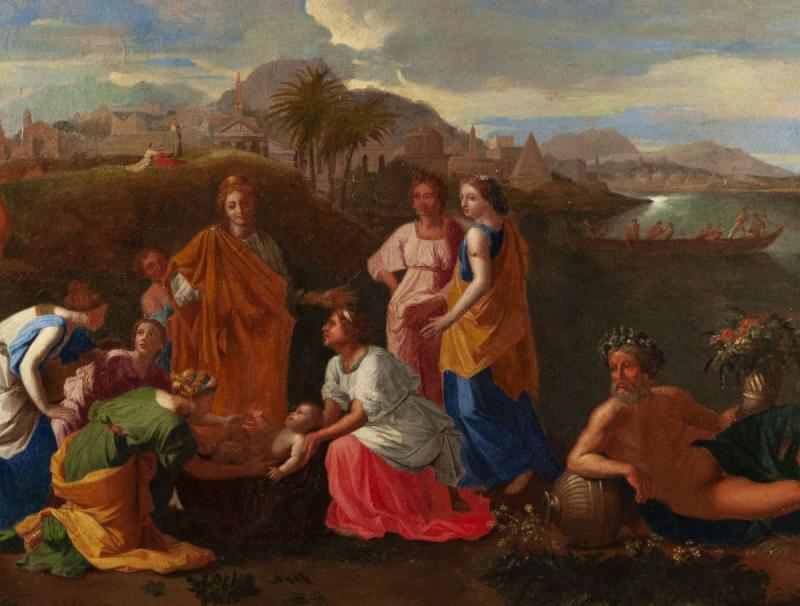 Moïse sauvé des eaux, Suiveur de Nicolas Poussin (1594-1665),huile sur toile du XVIIIème siècle.-photo-3