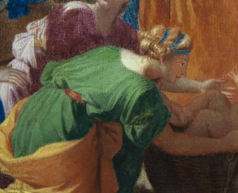 Moïse sauvé des eaux, Suiveur de Nicolas Poussin (1594-1665),huile sur toile du XVIIIème siècle.-photo-4