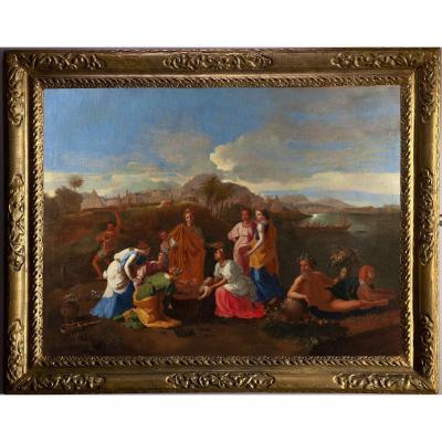 Moïse sauvé des eaux, Suiveur de Nicolas Poussin (1594-1665),huile sur toile du XVIIIème siècle.