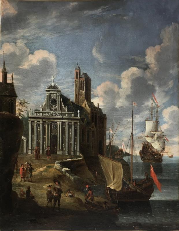 Scène de Port, entourage de Jacob Storck, XVIIème siècle.-photo-2