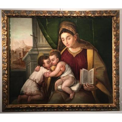 Virgin And Child And Saint John The Baptist, School Of Polidoro Lanciano, End Of The XVIth Century.