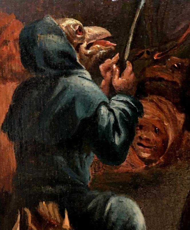 « L'arrivée Au Sabbat », Deuxième Moitié Du XVIIème Siècle, école De David Teniers, Le Jeune.-photo-2