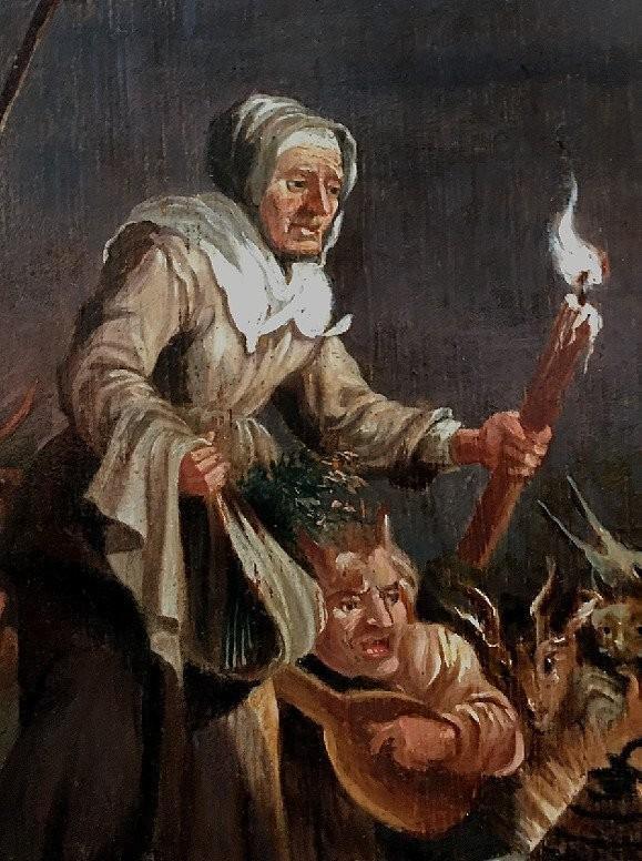 « L'arrivée Au Sabbat », Deuxième Moitié Du XVIIème Siècle, école De David Teniers, Le Jeune.-photo-3