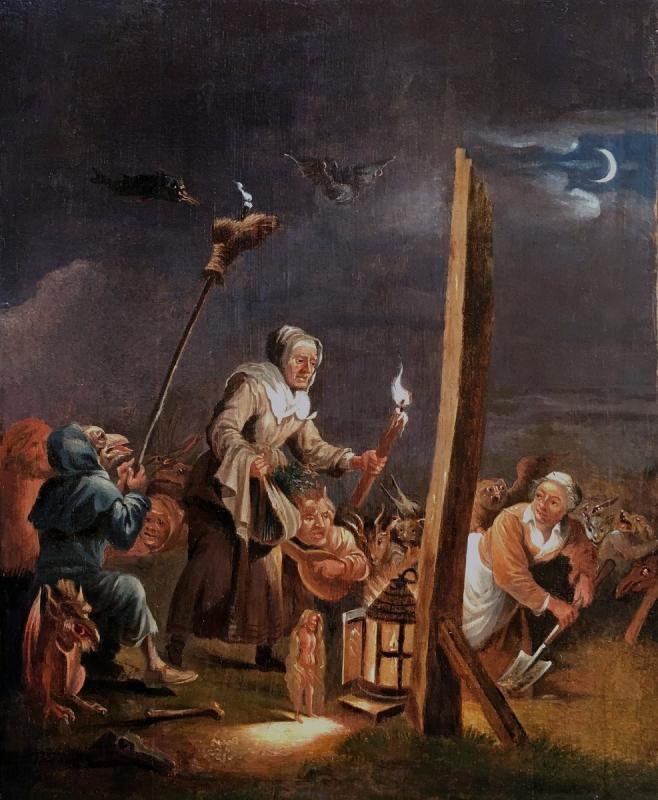 « L'arrivée Au Sabbat », Deuxième Moitié Du XVIIème Siècle, école De David Teniers, Le Jeune.-photo-4