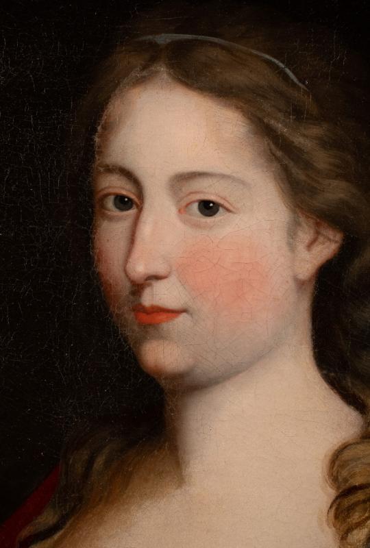 Portrait d'une Dame de qualité aux œillets, Peinture du XVIIème siècle dans son cadre d'époque.-photo-2