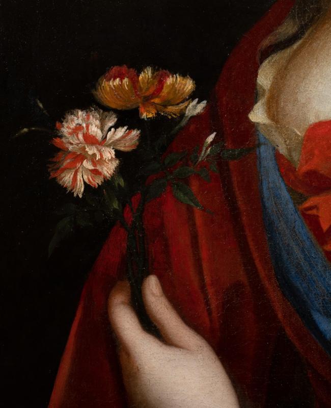 Portrait d'une Dame de qualité aux œillets, Peinture du XVIIème siècle dans son cadre d'époque.-photo-3