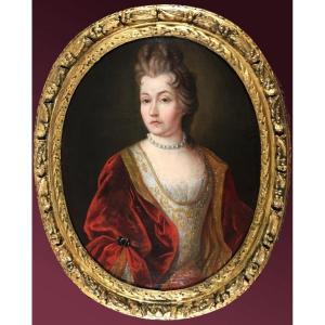 Portrait d'une Dame de qualité d'époque Louis XIV.