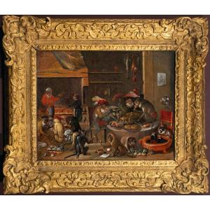 Banquet de singes, peinture du XVIIème siècle, suiveur de David Teniers II