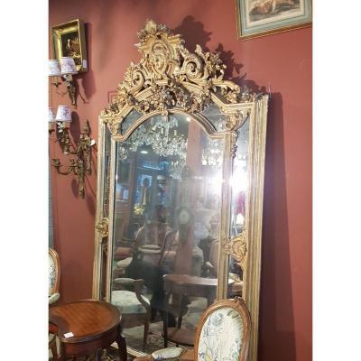 Miroir XIX En Bois Et Stuc Doré à La Feuille D Or