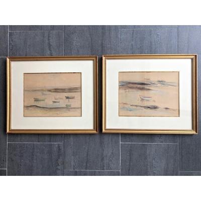 2 Aquarelles De Paul Belmondo