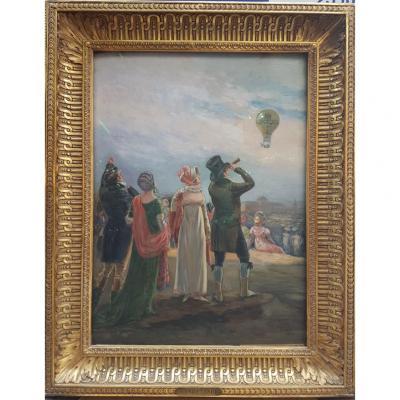 Tableau, La Montgolfière, Henri Tenré (1854 - 1926)