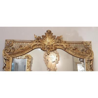 Miroir Doré de Style Régence, d'époque 19ème.