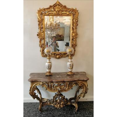 Miroir Style Louis XV En Bois Sculpté Et Doré à La Feuille d'Or, Miroir Au Mercure.