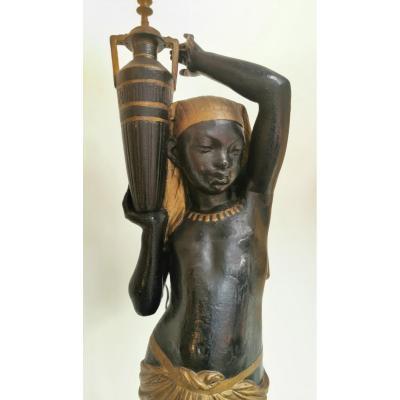 Torchère Nubien En Fonte De Fer D'époque Fin 19ème