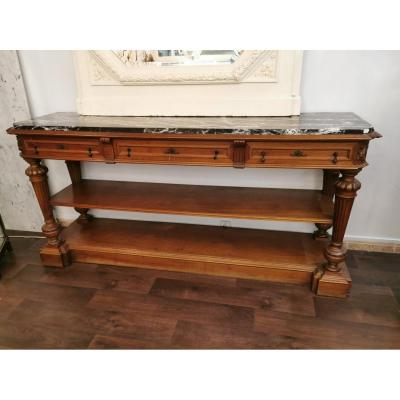 Large Console In Walnut, Late 19th Century.