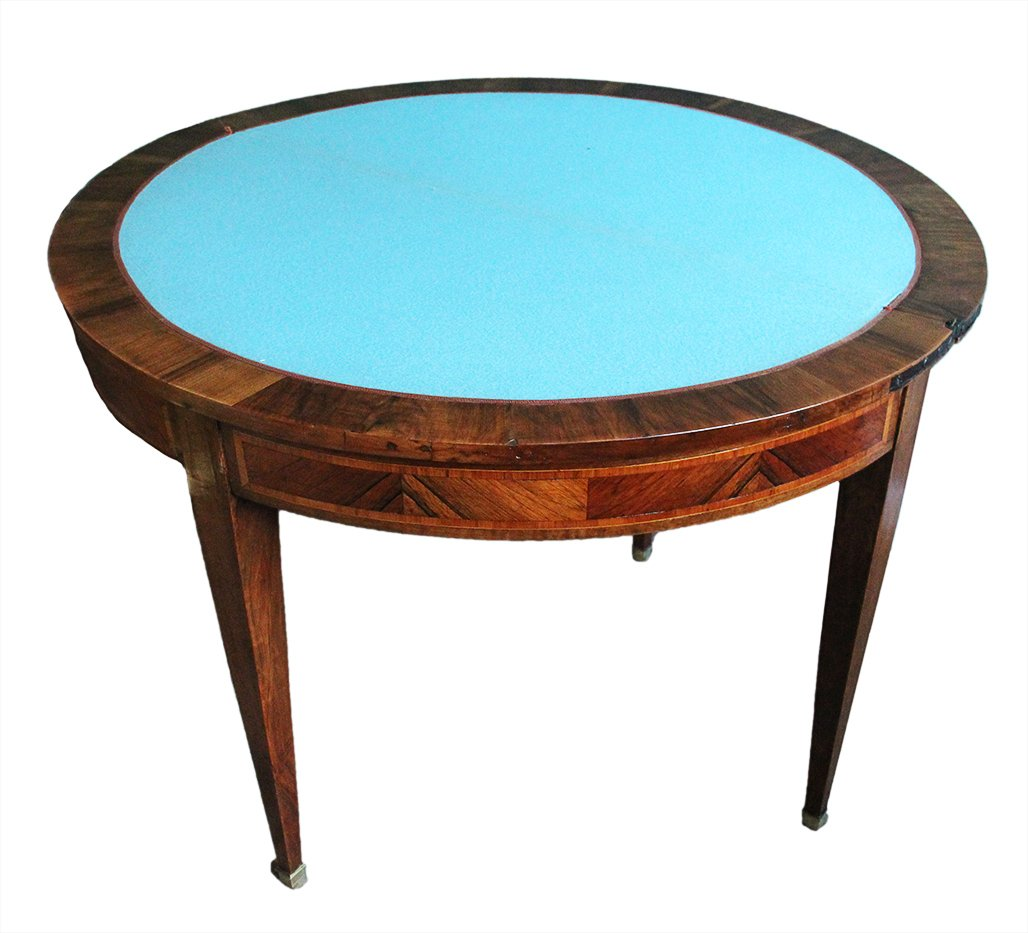 Table à Jeux En Demi-lune XVIIIème Siècle-photo-3