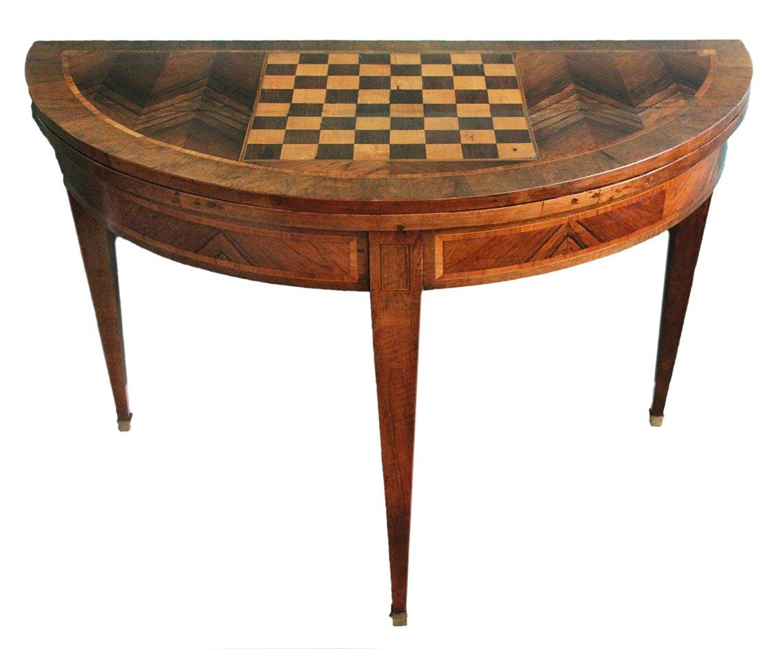 Table à Jeux En Demi-lune XVIIIème Siècle-photo-2