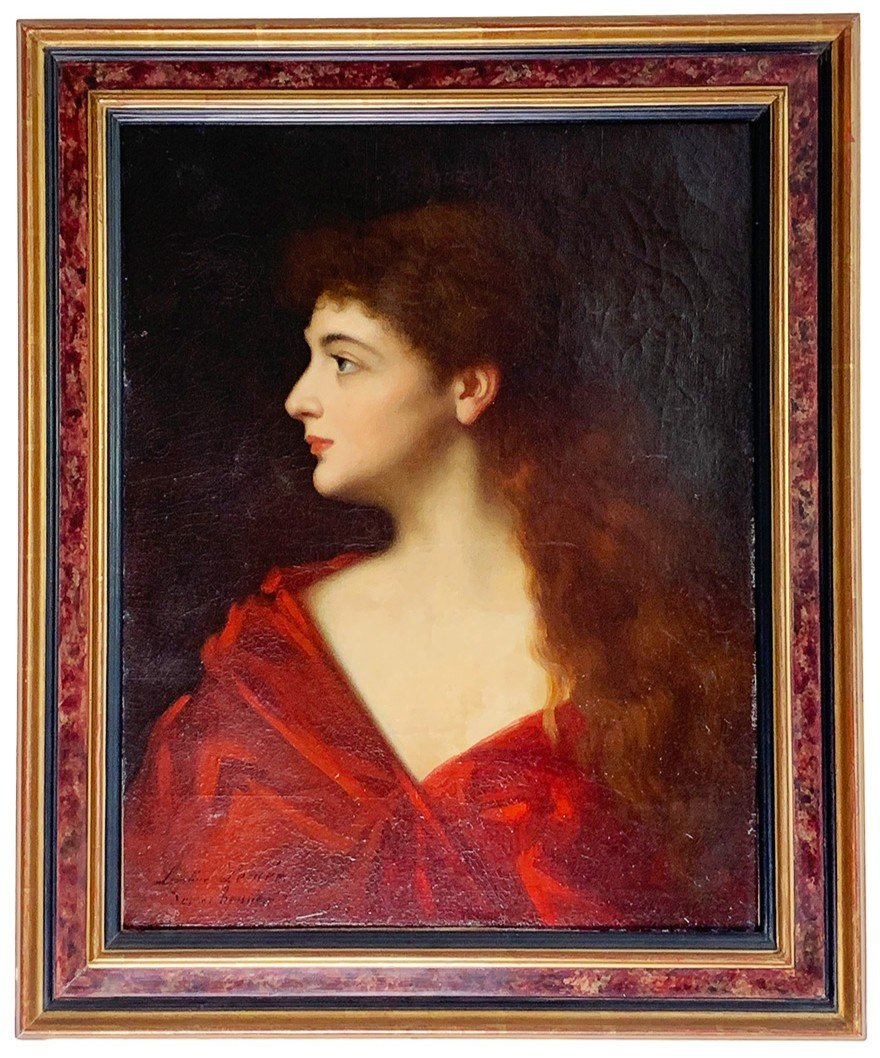 """Léontine Lemée """"buste Of A Young Lady"""" - After """"fabiola"""" From Jean-jacques Henner (1885)"""