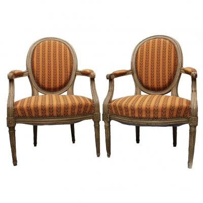 Pair Of Louis XVI Style Cabriolet Armchairs