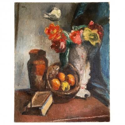 "Manuel Ortiz De Zarate ""still Life With Bouquet"