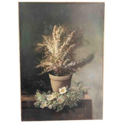 """Clément Gontier """"Vase de fleurs sur un entablement"""