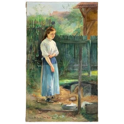 "Hubert-Emile Bellynck ""Jeune fille au lavoir"