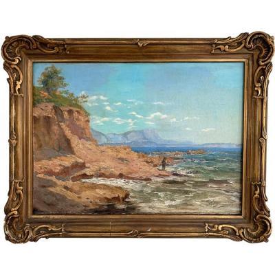 """Adolphe Louis Gaussen """"Le pêcheur au bord de l'eau"""