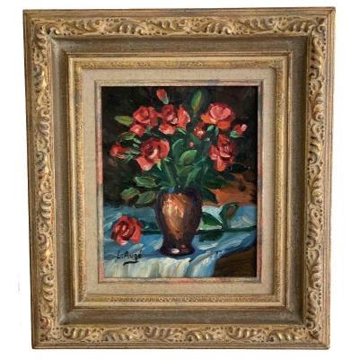 """Lucien Auge """"Roses dans un vase"""