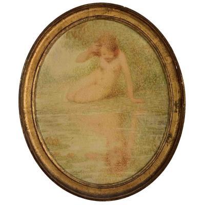 """Lucien Boulier """"Jeune fille contemplant son visage"""