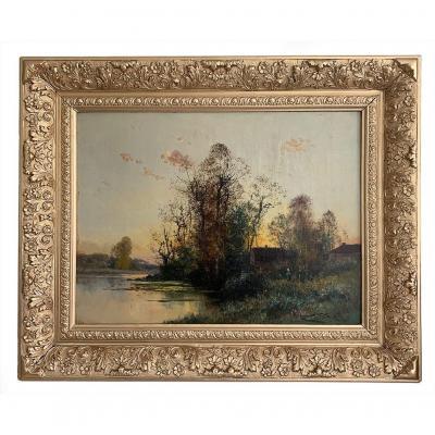 """Charles Clair (1860- 1930) """"Maison près de la rivière"""