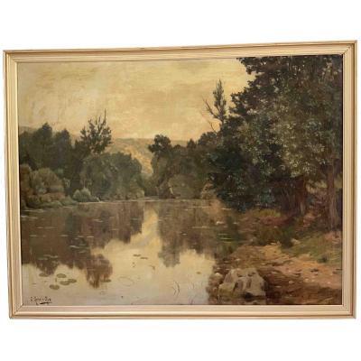 """René Charles Edmond His """"Paysage lacustre"""