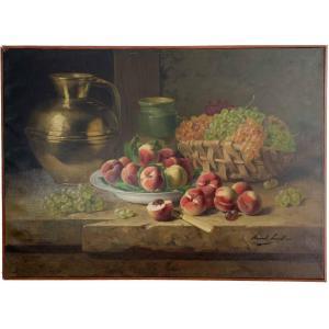 """Arthur Alfred Brunel de Neuville """"Nature morte aux fruits"""