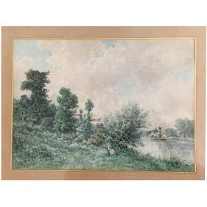 """François De Mesgrigny """"Bord de rivière animée"""