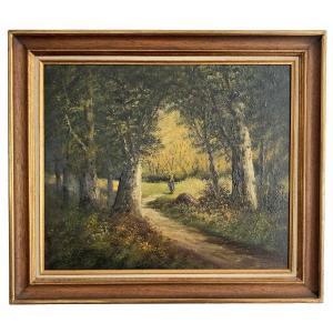 """Huile sur toile signée LAMBERT """"Fagoteuse dans une clairière"""