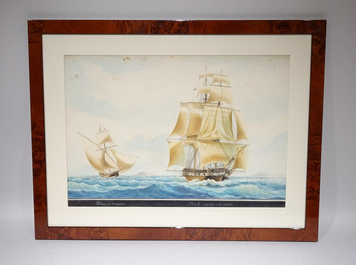 Watercolor Tartane Commerce Attributed To Mathieu Roux Fils