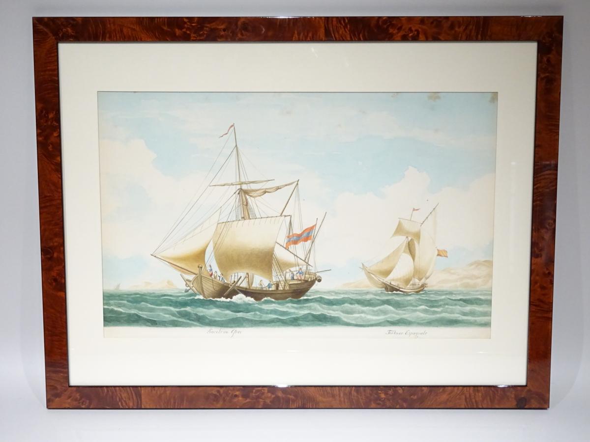 Watercolor « Sacolevo Grec » Attributed To Mathieu Roux Fils Aîné