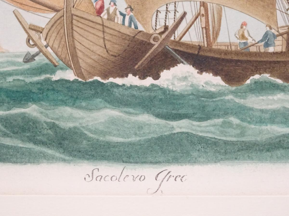 Watercolor « Sacoleva Grec » Attributed To Mathieu Roux Fils Aîné-photo-4