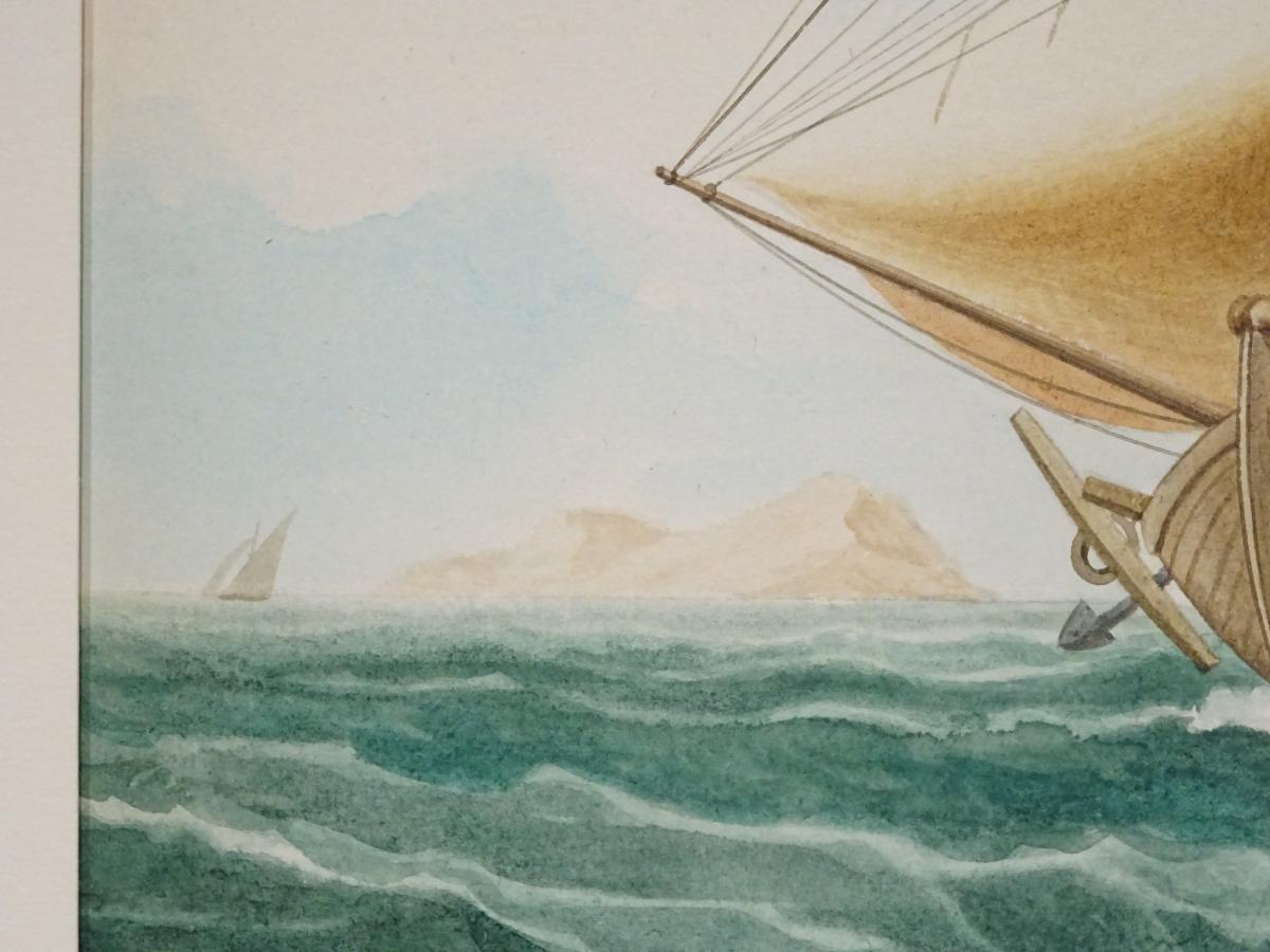 Watercolor « Sacoleva Grec » Attributed To Mathieu Roux Fils Aîné-photo-1