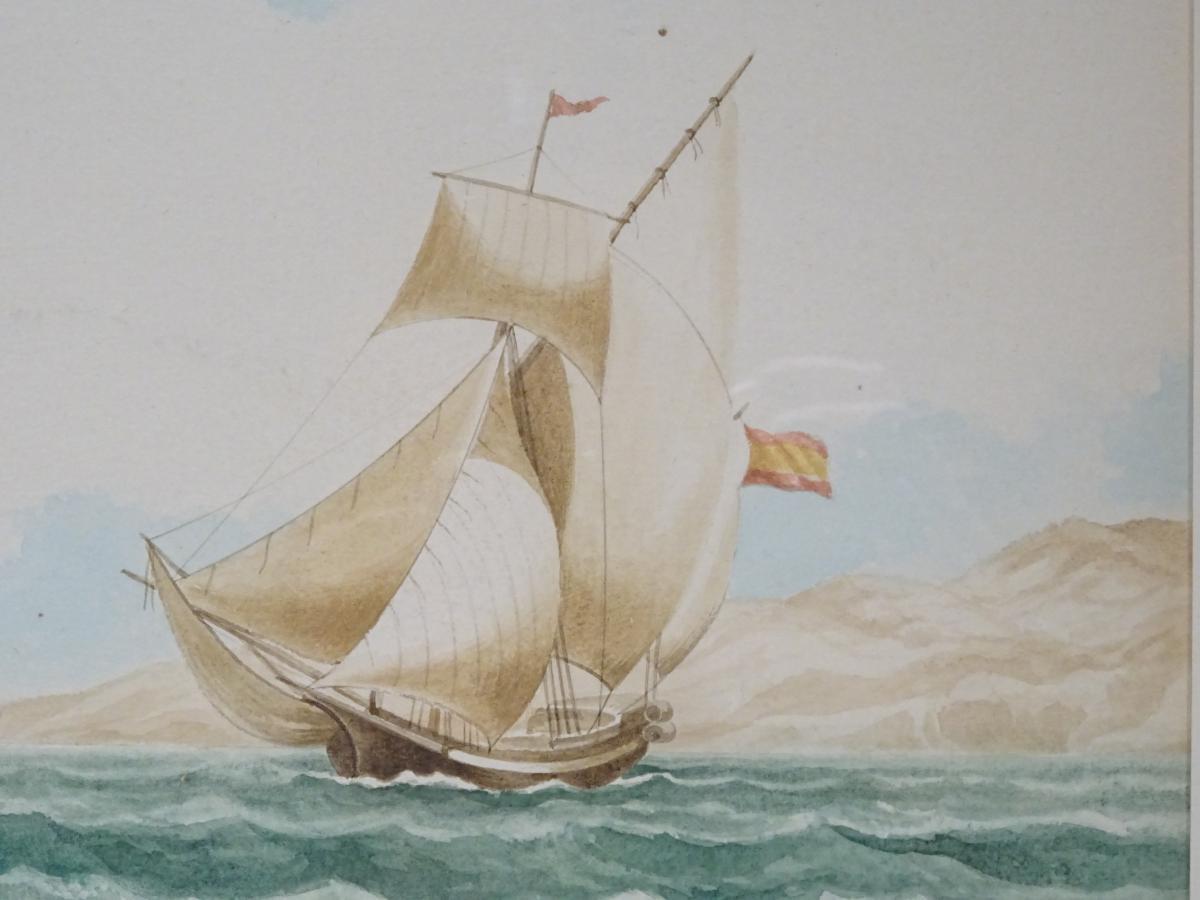 Watercolor « Sacoleva Grec » Attributed To Mathieu Roux Fils Aîné-photo-2