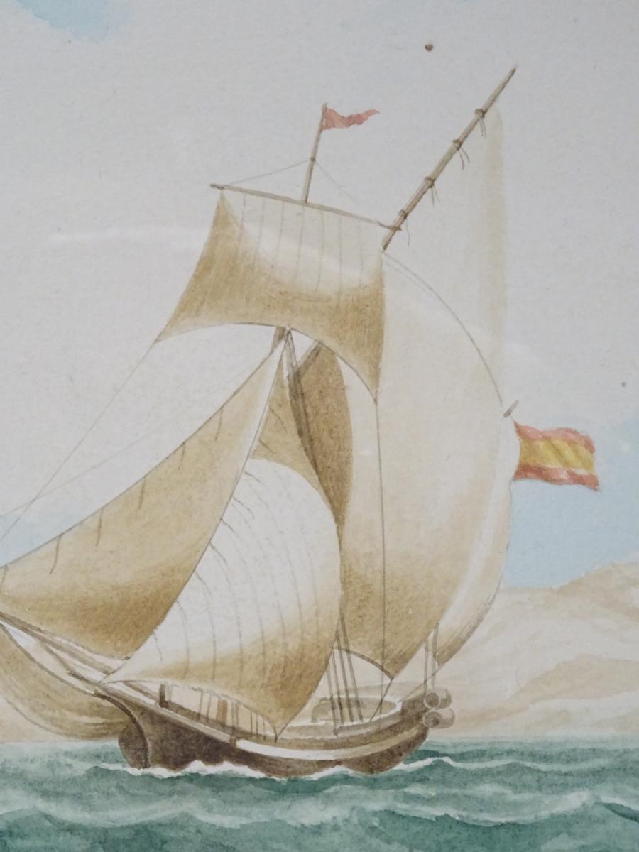 Watercolor « Sacoleva Grec » Attributed To Mathieu Roux Fils Aîné-photo-3