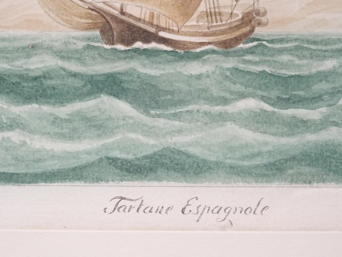 Watercolor « Sacoleva Grec » Attributed To Mathieu Roux Fils Aîné-photo-5