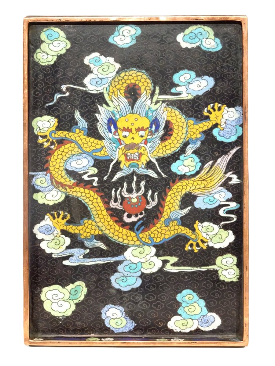 Opium Tray In Enamels Cloisonné In Decor Of The Dragon