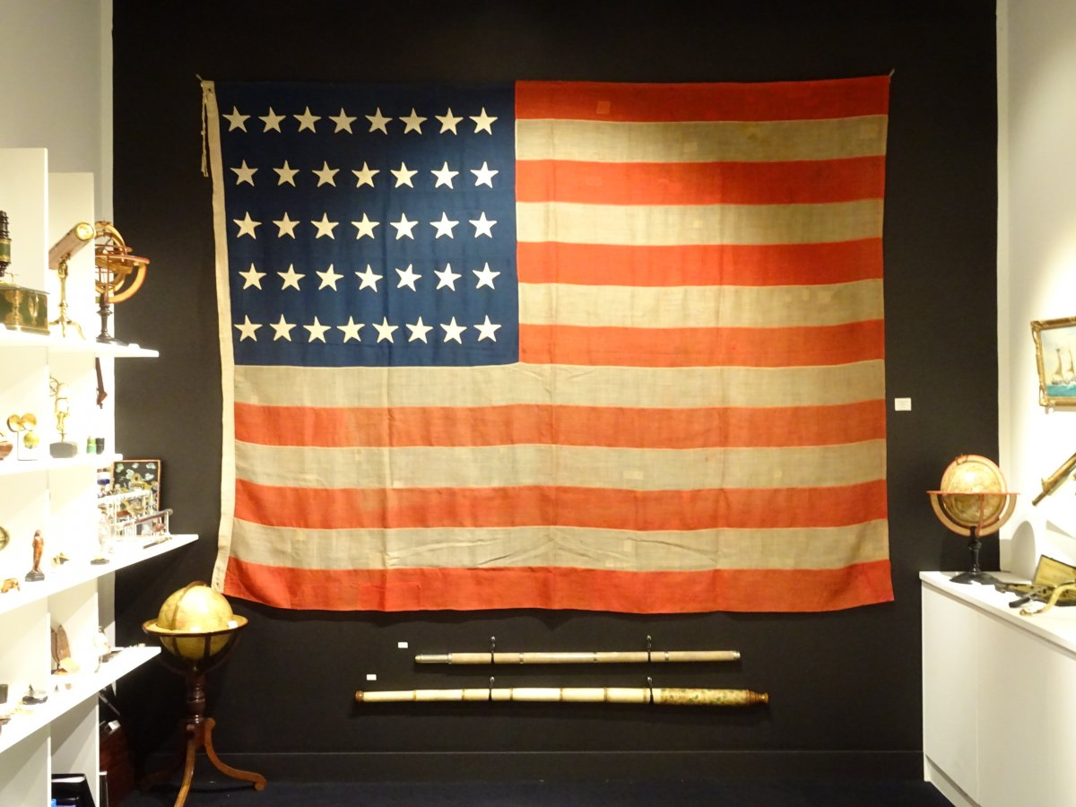 American Pavilion Flag With 37 Stars Datable Between 1867 And 1877