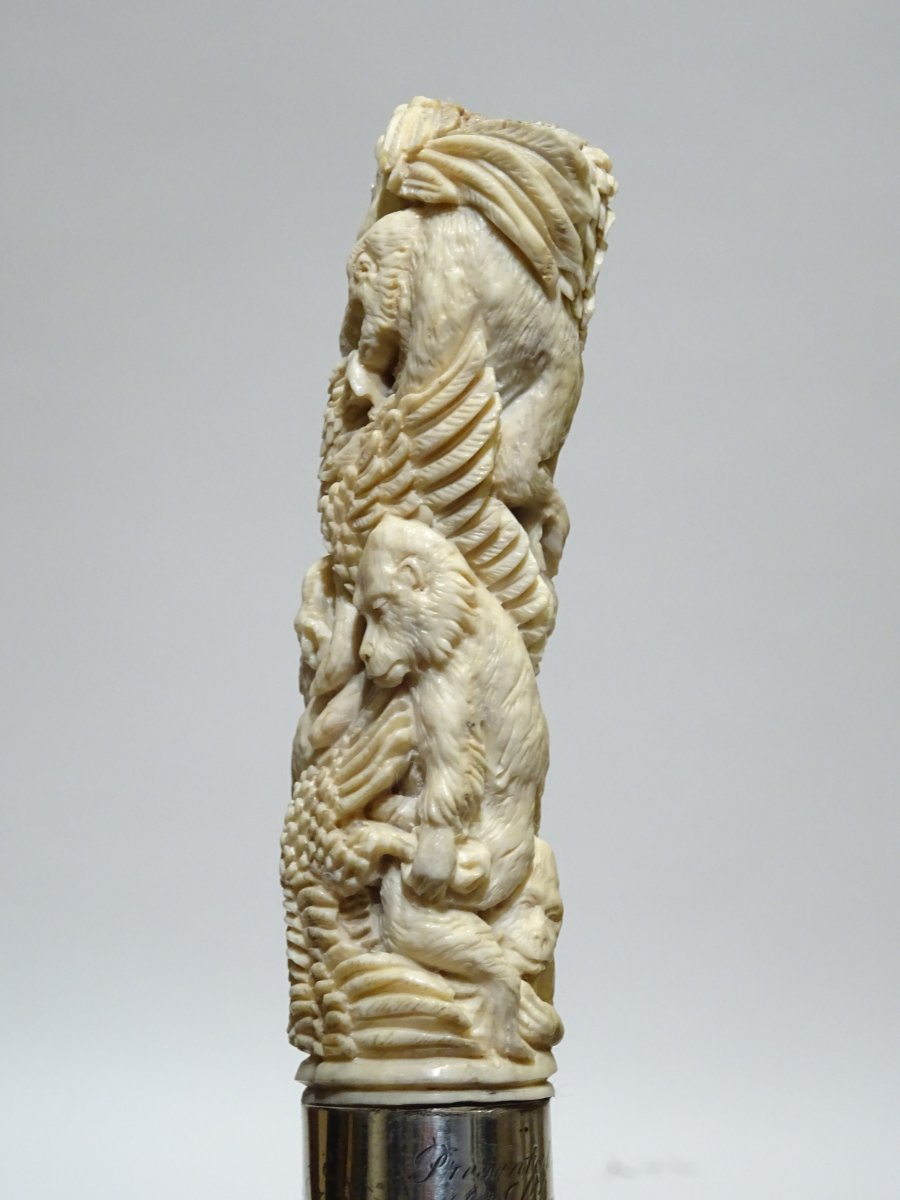 Cane With Antler Handle Representing Gorillas Embracing Eagles