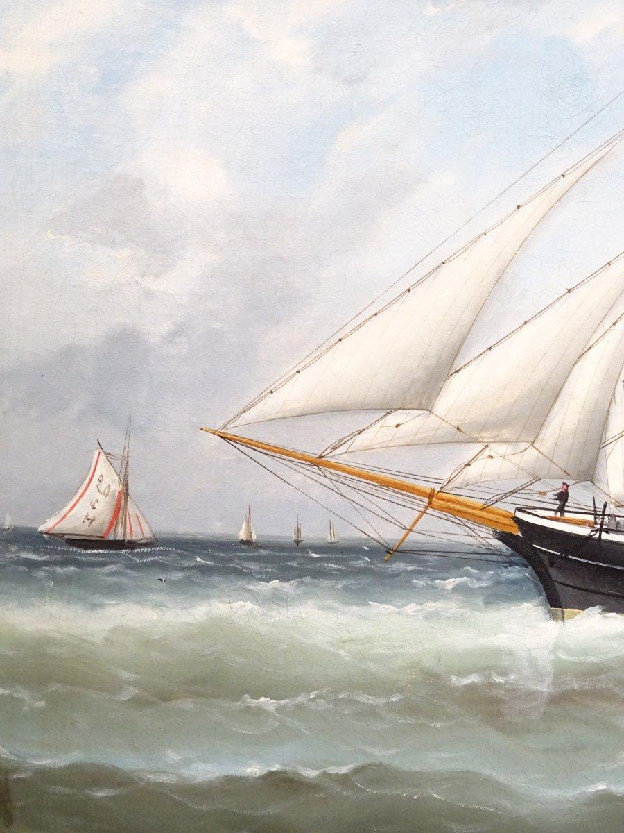 Huile sur toile signée Edouard Adam peinte au Havre en 1878-photo-4