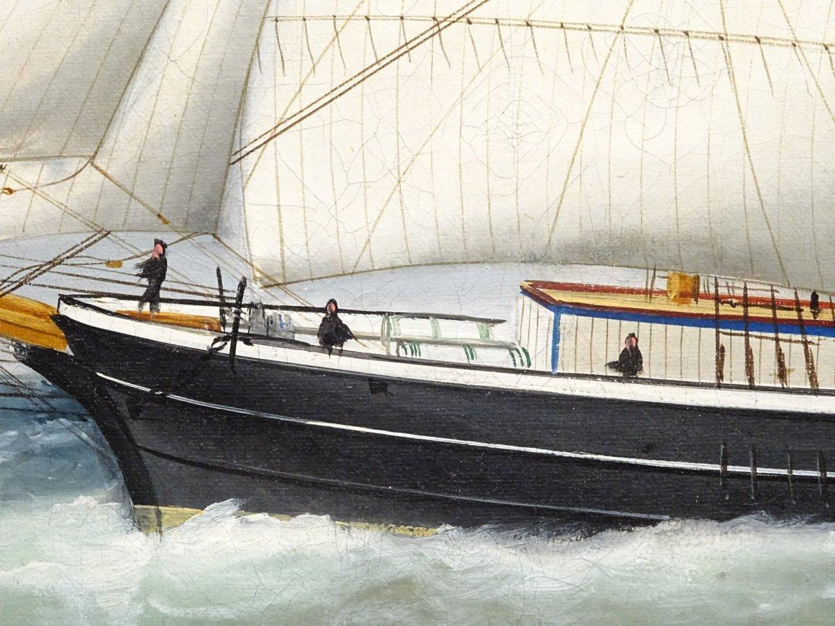 Huile sur toile signée Edouard Adam peinte au Havre en 1878-photo-1