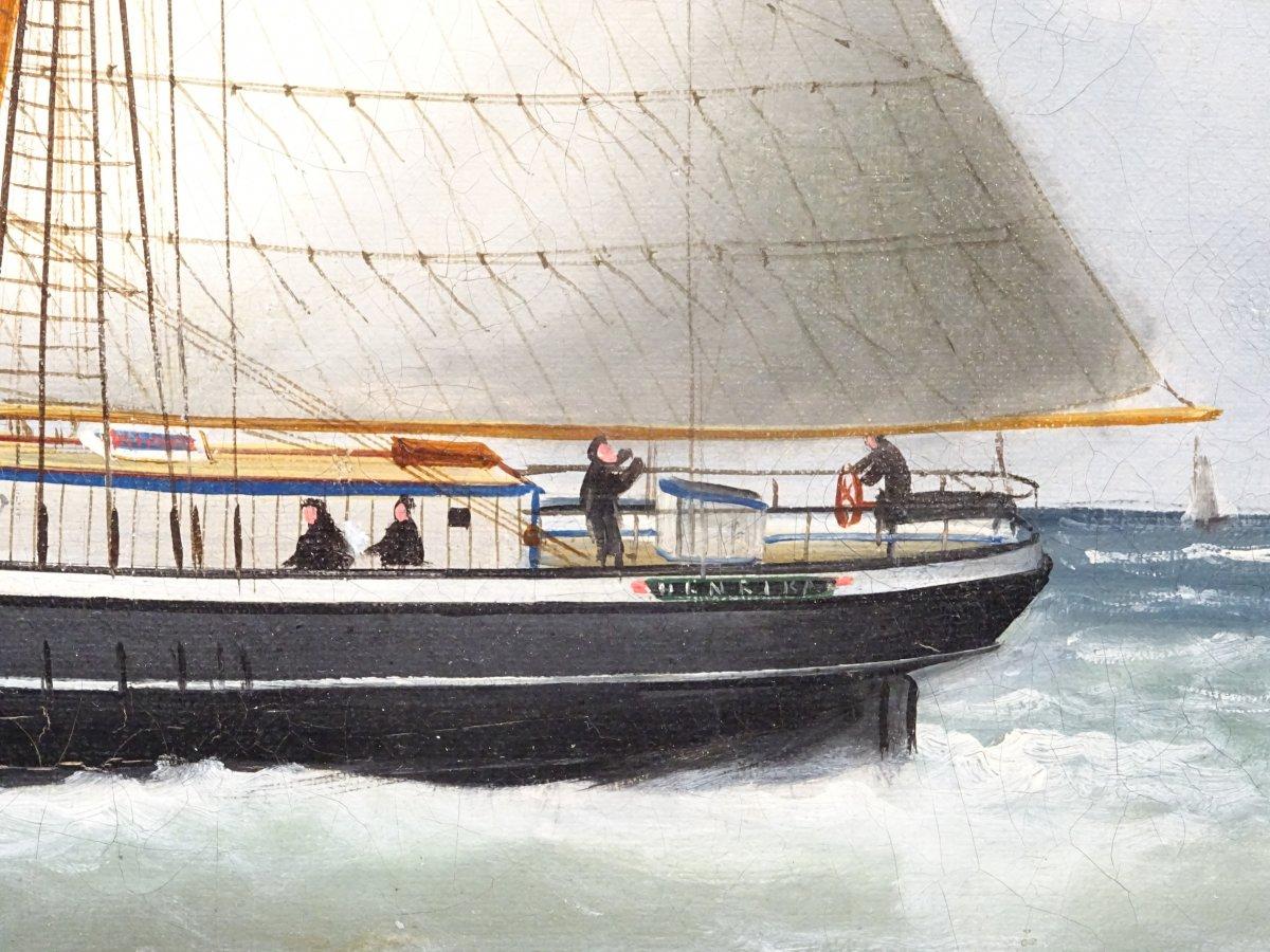 Huile sur toile signée Edouard Adam peinte au Havre en 1878-photo-2