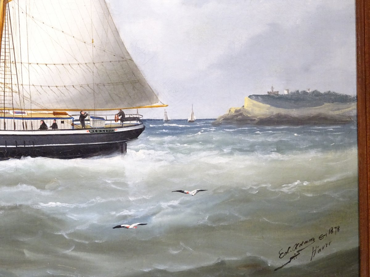 Huile sur toile signée Edouard Adam peinte au Havre en 1878-photo-3